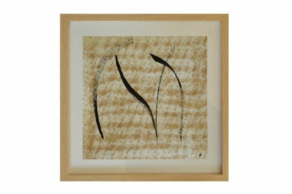 Toile contemporaine calligraphie mini brou de noix I 1