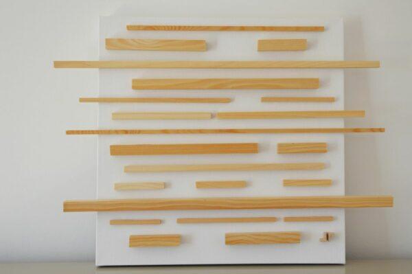 Toile contemporaine 3D bois hors du cadre 1