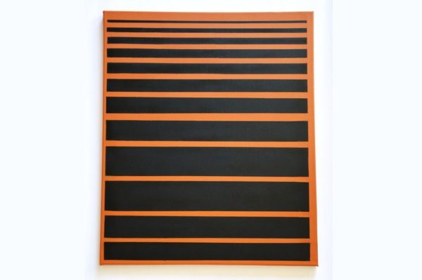 Toile contemporaine art graphique pochoir moutarde 5