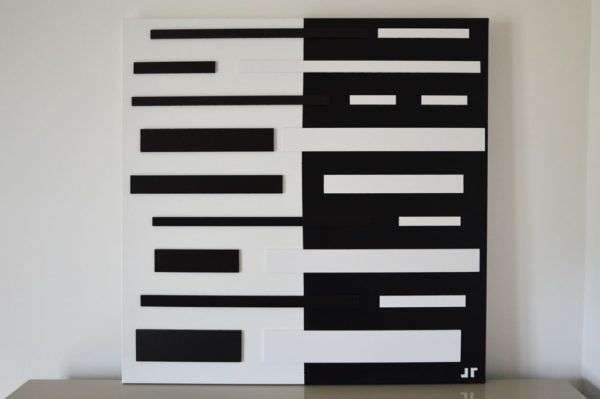 Toile contemporaine art graphique 3D black and white 1