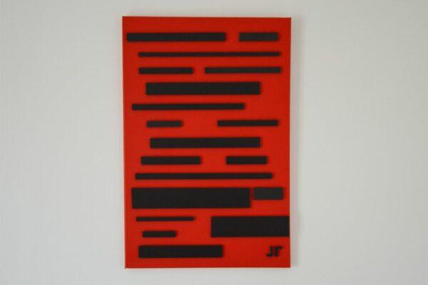 Toile contemporaine art graphique 3D noir sur rouge 1