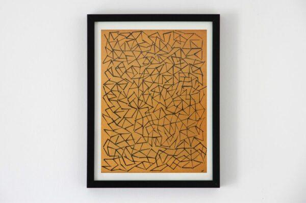 Toile contemporaine art graphique tamponnage fond kraft 1
