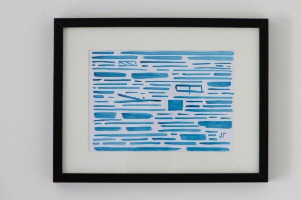 Toile contemporaine calligraphie revisitée bleue 1