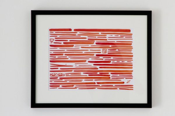 Toile contemporaine calligraphie revisitée rouge 1