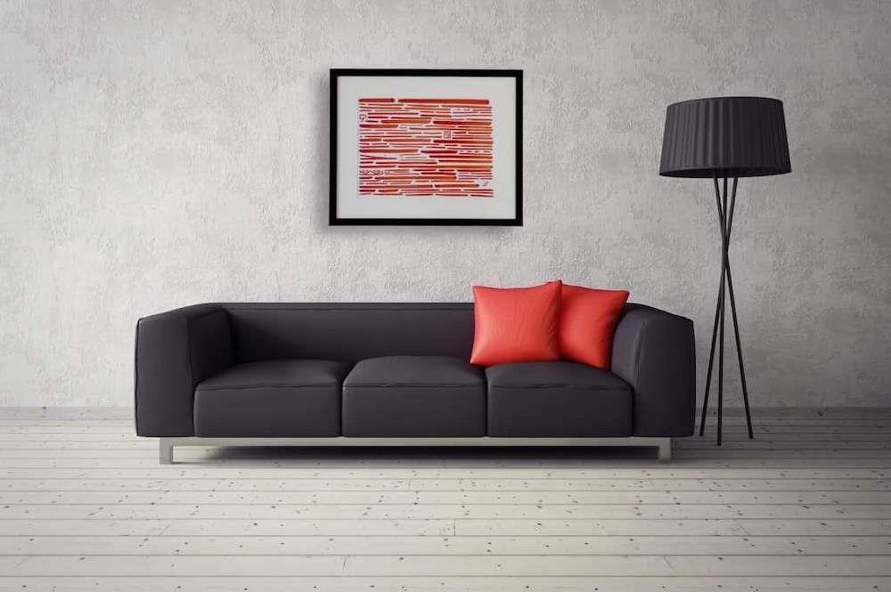 Toile contemporaine calligraphie revisitée rouge 2