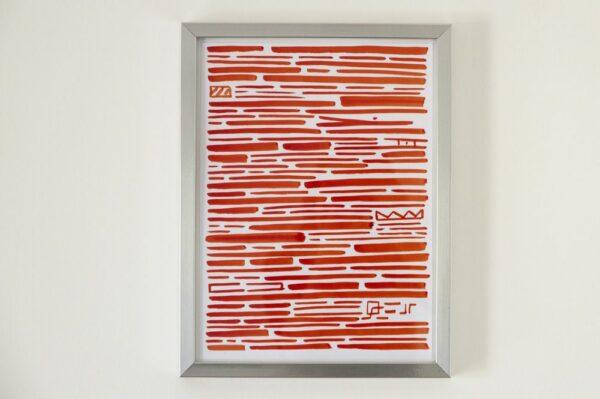 Toile contemporaine calligraphie revisitee rouge II 1