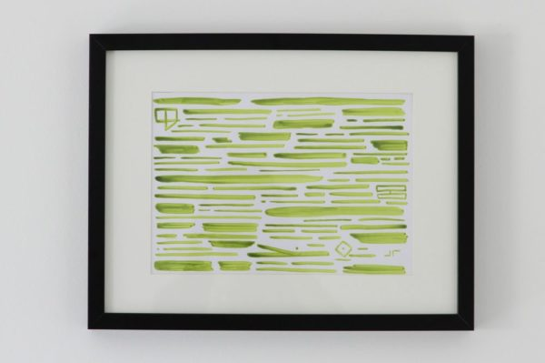 Contemporary canvas calligraphy revisited green