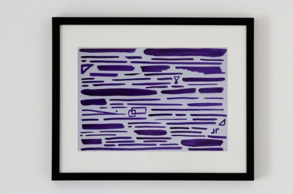 Toile contemporaine calligraphie revisitee violet 1