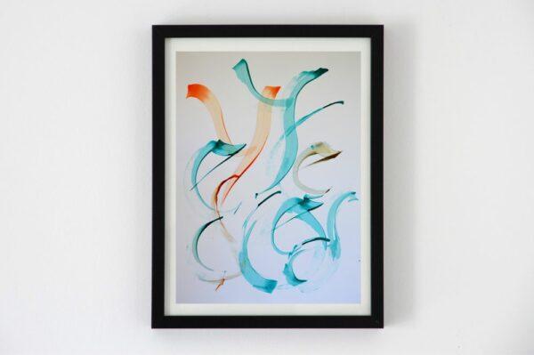 Toile contemporaine hommage calligraphie orange turquoise 1