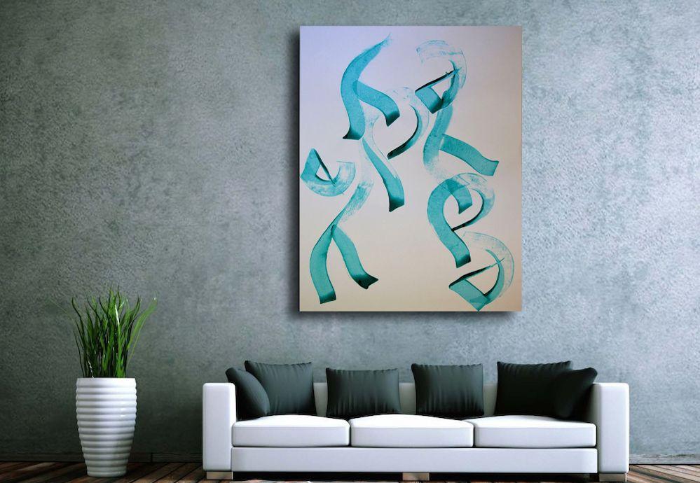 Toile contemporaine hommage calligraphie turquoise 3