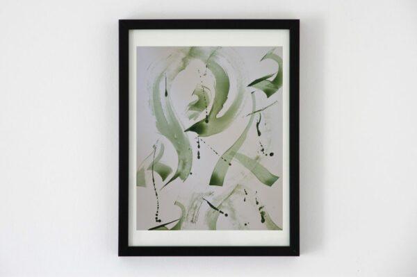 Toile contemporaine hommage calligraphie verte 1