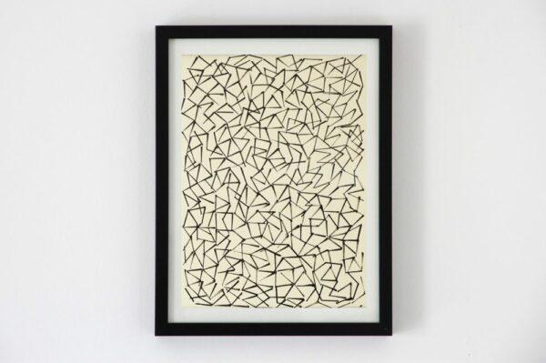 Toile contemporaine art graphique tamponnage fond blanc 1