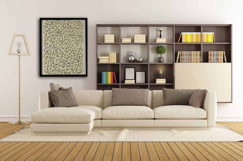 Contemporary canvas graphic art stamping white background