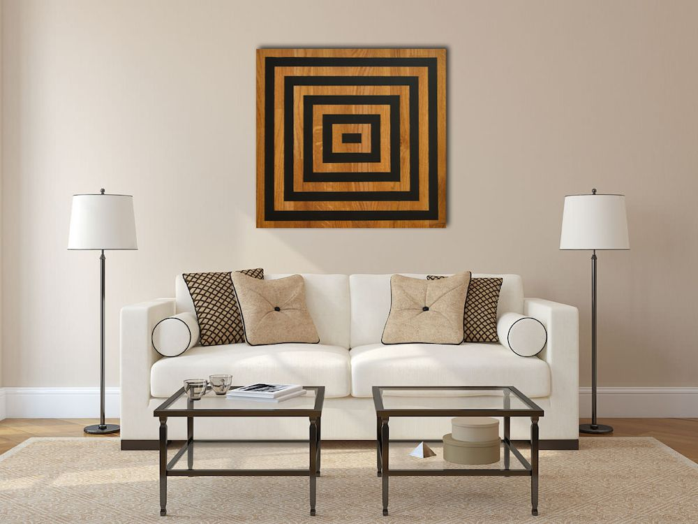 Wood square contemporaine canvas