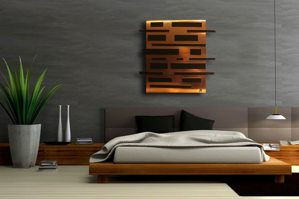 Contemporary 3D copper canvas outside frame