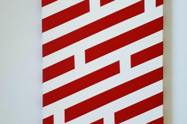 Toile contemporaine art graphique pochoir rouge sur blanc 2